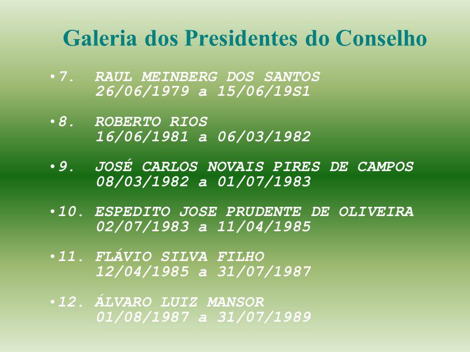 7. RAUL MEINBERG DOS SANTOS 26/06/1979 a 15/06/19S1 8. ROBERTO RIOS 16/06/1981 a 06/03/1982 9. JOSÉ CARLOS NOVAIS PIRES DE CAMPOS 08/03/1982 a 01/07/1