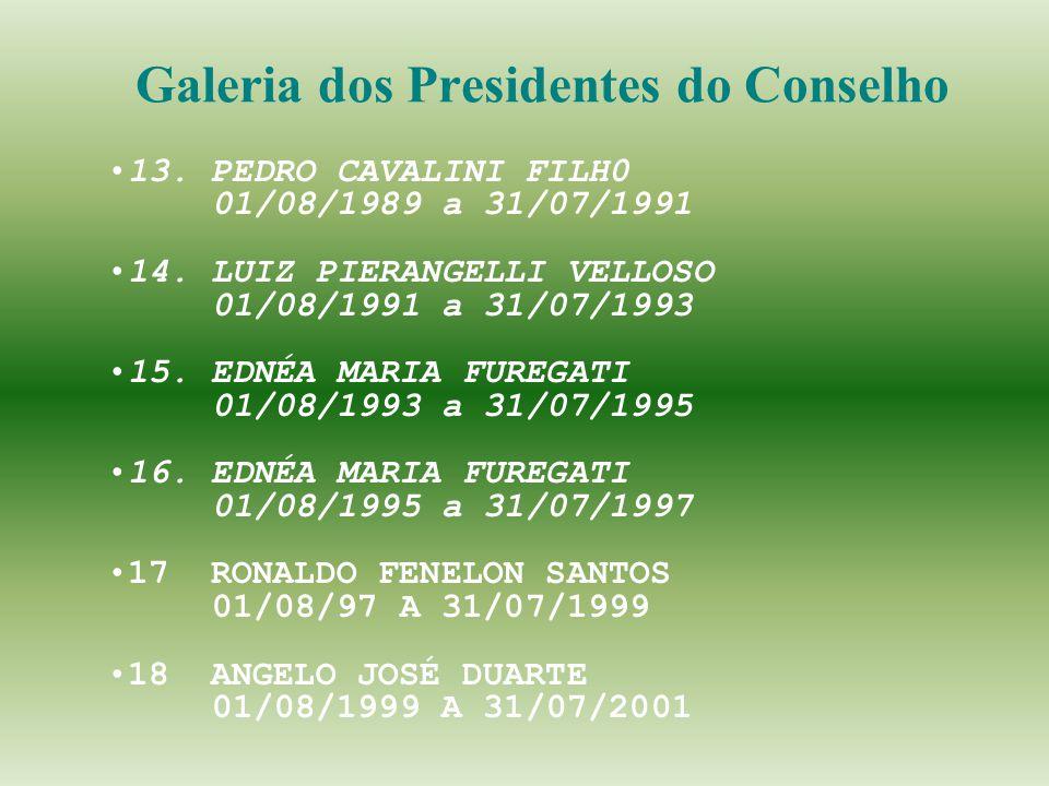 Galeria dos Presidentes do Conselho 13. PEDRO CAVALINI FILH0 01/08/1989 a 31/07/1991 14. LUIZ PIERANGELLI VELLOSO 01/08/1991 a 31/07/1993 15. EDNÉA MA