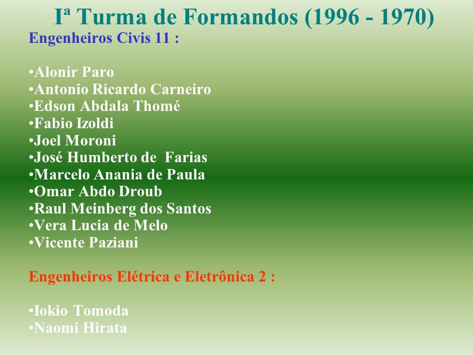 Iª Turma de Formandos (1996 - 1970) Engenheiros Civis 11 : Alonir Paro Antonio Ricardo Carneiro Edson Abdala Thomé Fabio Izoldi Joel Moroni José Humbe