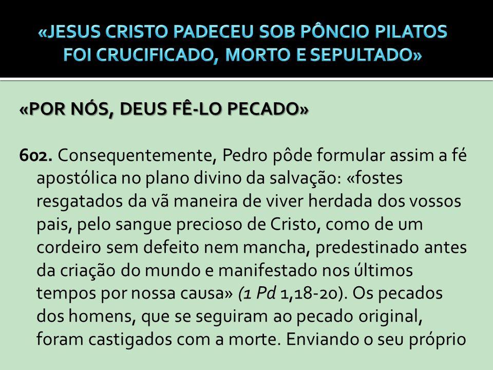 «POR NÓS, DEUS FÊ-LO PECADO» 602. Consequentemente, Pedro pôde formular assim a fé apostólica no plano divino da salvação: «fostes resgatados da vã ma