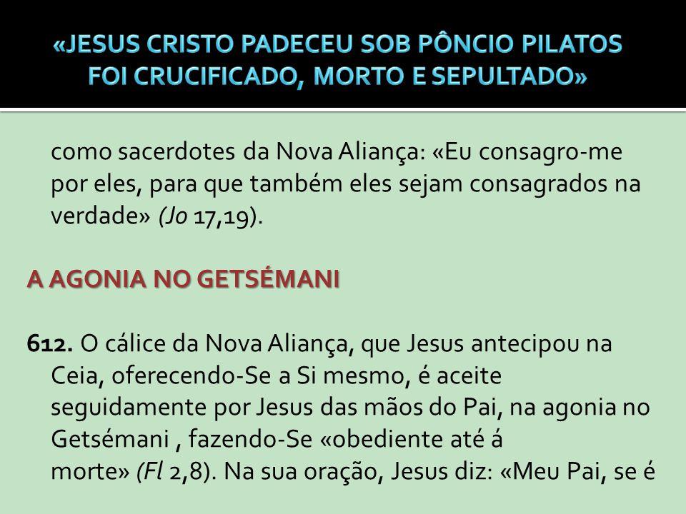 como sacerdotes da Nova Aliança: «Eu consagro-me por eles, para que também eles sejam consagrados na verdade» (Jo 17,19). A AGONIA NO GETSÉMANI 612. O