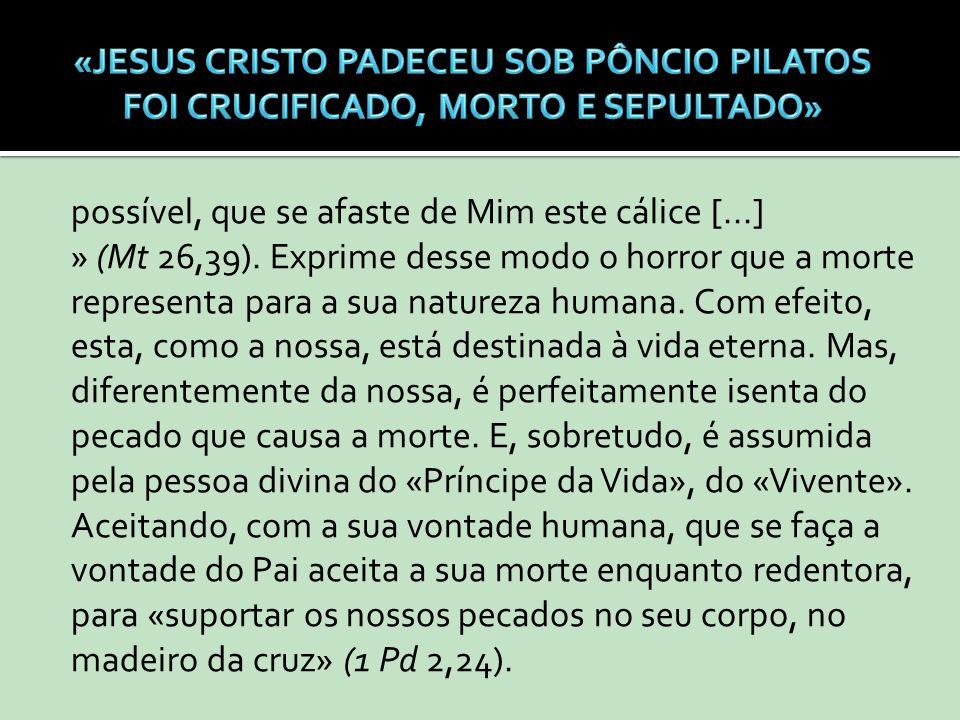 possível, que se afaste de Mim este cálice [...] » (Mt 26,39). Exprime desse modo o horror que a morte representa para a sua natureza humana. Com efei