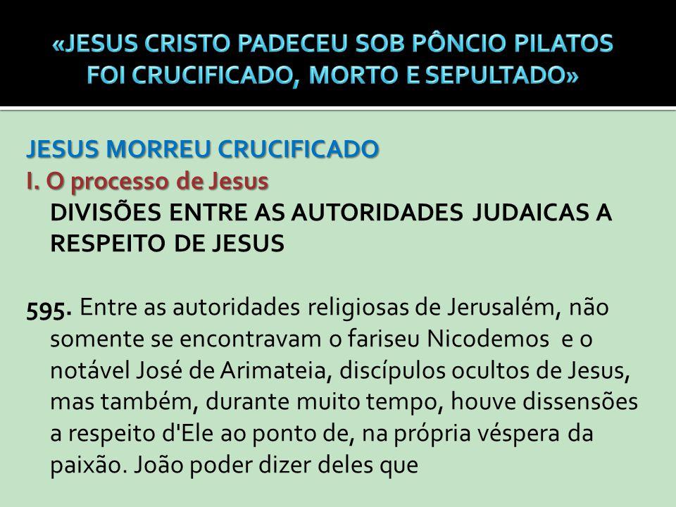JESUS MORREU CRUCIFICADO I. O processo de Jesus DIVISÕES ENTRE AS AUTORIDADES JUDAICAS A RESPEITO DE JESUS 595. Entre as autoridades religiosas de Jer