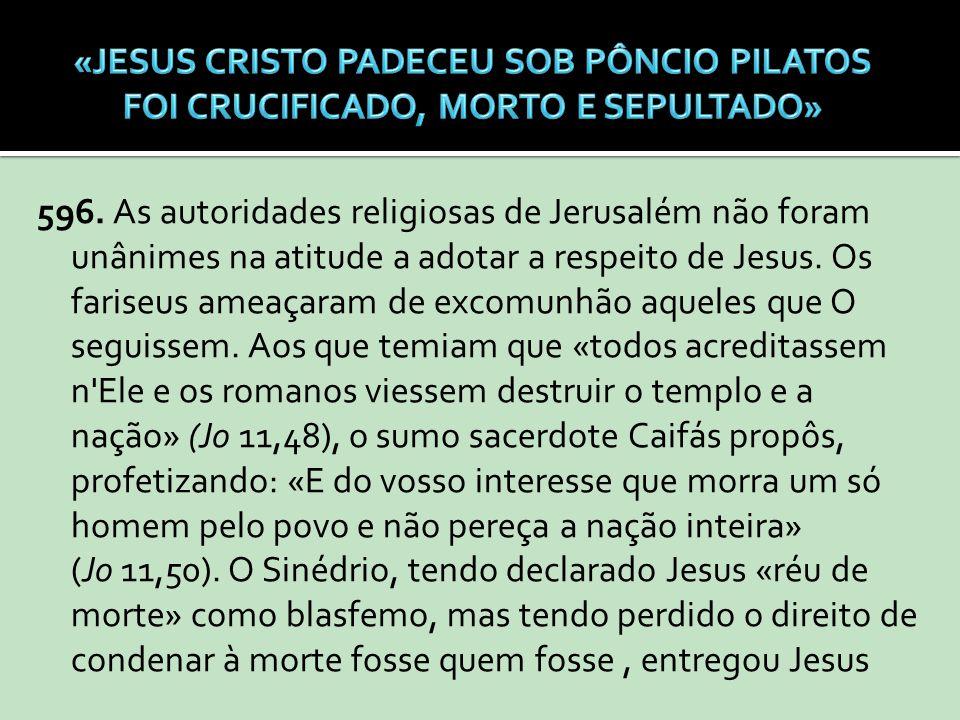 596. As autoridades religiosas de Jerusalém não foram unânimes na atitude a adotar a respeito de Jesus. Os fariseus ameaçaram de excomunhão aqueles qu