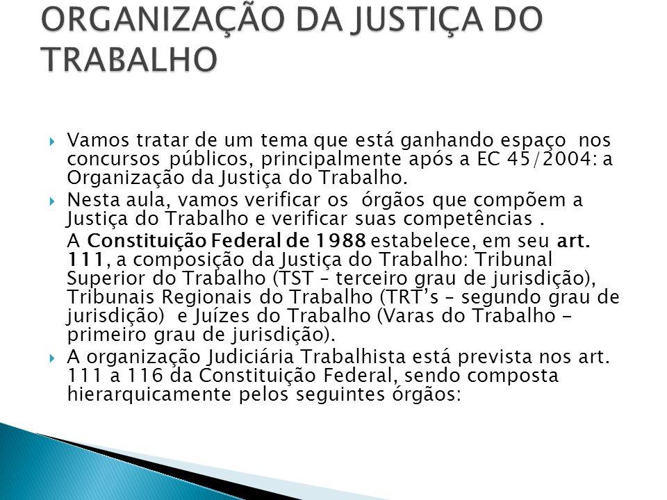 Vamos tratar de um tema que está ganhando espaço nos concursos públicos, principalmente após a EC 45/2004: a Organização da Justiça do Trabalho.