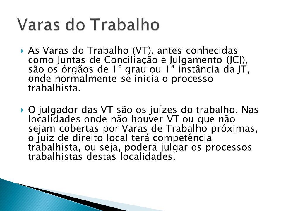 As Varas do Trabalho (VT), antes conhecidas como Juntas de Conciliação e Julgamento (JCJ), são os órgãos de 1º grau ou 1ª instância da JT, onde normalmente se inicia o processo trabalhista.