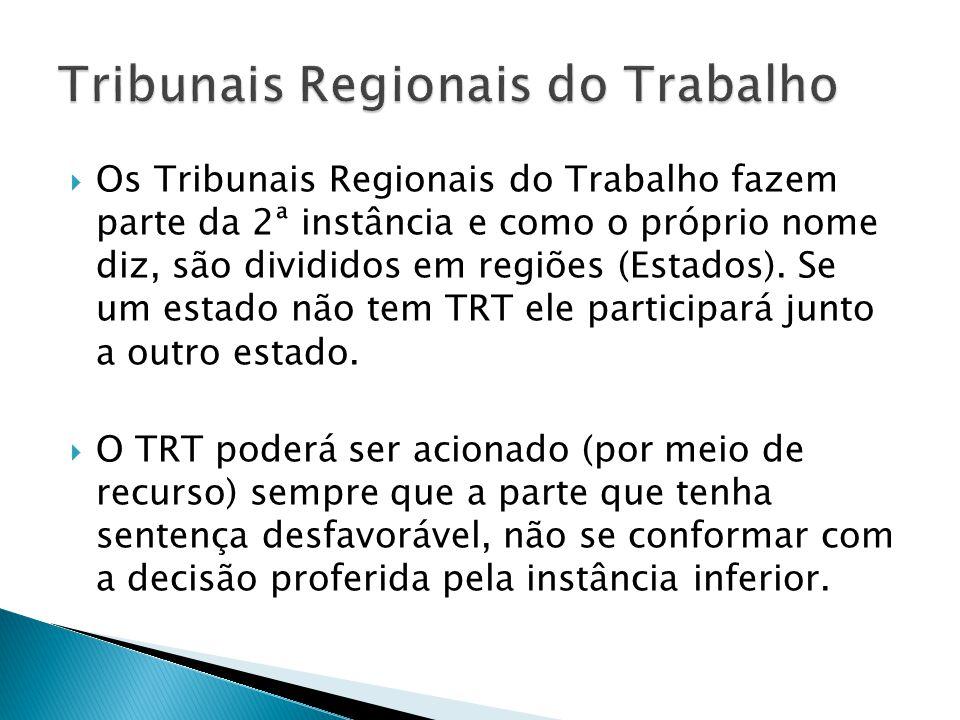 Os Tribunais Regionais do Trabalho fazem parte da 2ª instância e como o próprio nome diz, são divididos em regiões (Estados).