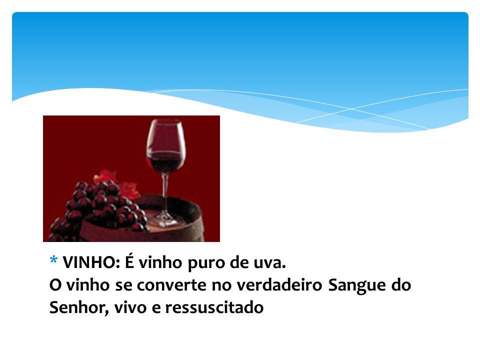 * VINHO: É vinho puro de uva.