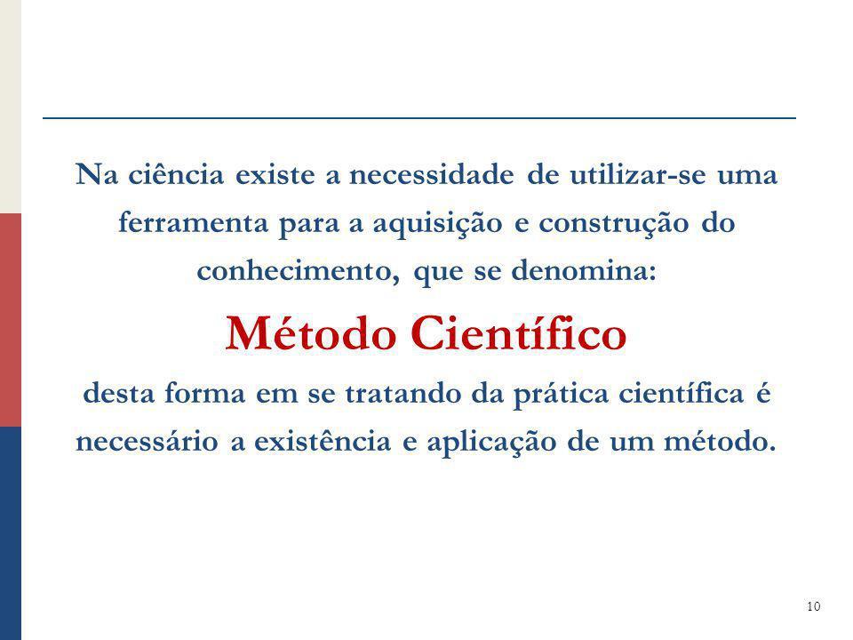 Na ciência existe a necessidade de utilizar-se uma ferramenta para a aquisição e construção do conhecimento, que se denomina: Método Científico desta