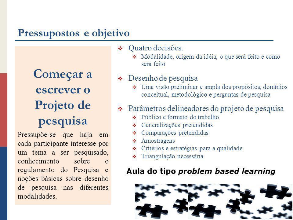 Pressupostos e objetivo Quatro decisões: Modalidade, origem da idéia, o que será feito e como será feito Desenho de pesquisa Uma visão preliminar e am