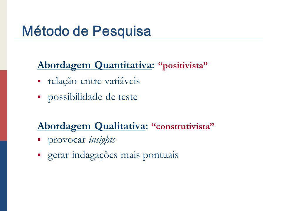Abordagem Quantitativa: positivista relação entre variáveis possibilidade de teste Abordagem Qualitativa: construtivista provocar insights gerar indag