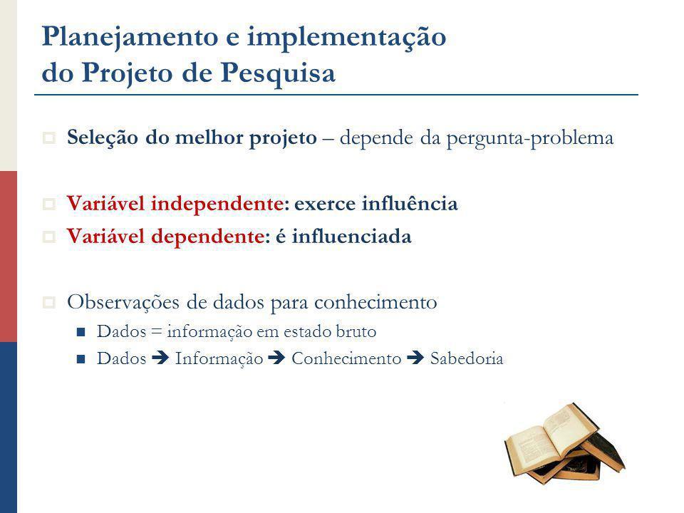 Planejamento e implementação do Projeto de Pesquisa Seleção do melhor projeto – depende da pergunta-problema Variável independente: exerce influência