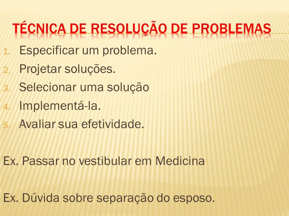 1. Especificar um problema. 2. Projetar soluções. 3. Selecionar uma solução 4. Implementá-la. 5. Avaliar sua efetividade. Ex. Passar no vestibular em