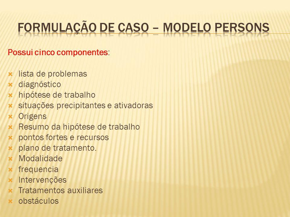 Possui cinco componentes: lista de problemas diagnóstico hipótese de trabalho situações precipitantes e ativadoras Origens Resumo da hipótese de traba