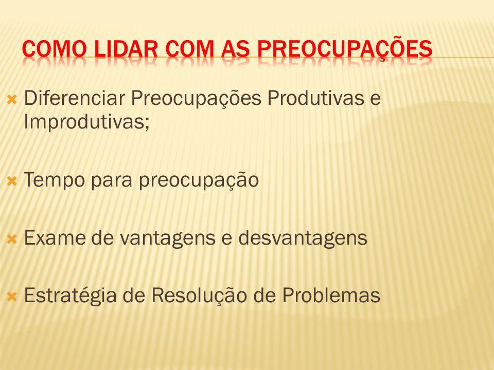 Diferenciar Preocupações Produtivas e Improdutivas; Tempo para preocupação Exame de vantagens e desvantagens Estratégia de Resolução de Problemas