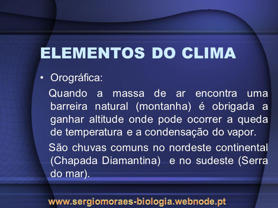 ELEMENTOS DO CLIMA Orográfica: Quando a massa de ar encontra uma barreira natural (montanha) é obrigada a ganhar altitude onde pode ocorrer a queda de temperatura e a condensação do vapor.