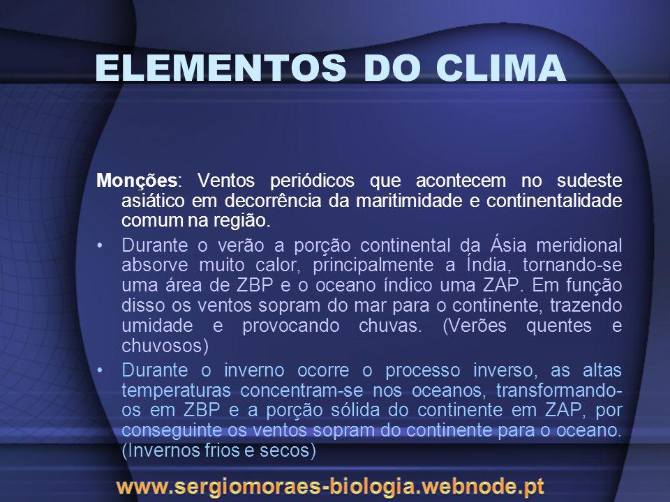 ELEMENTOS DO CLIMA Monções: Ventos periódicos que acontecem no sudeste asiático em decorrência da maritimidade e continentalidade comum na região. Dur