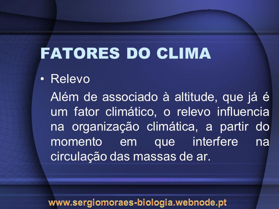 FATORES DO CLIMA Relevo Além de associado à altitude, que já é um fator climático, o relevo influencia na organização climática, a partir do momento e