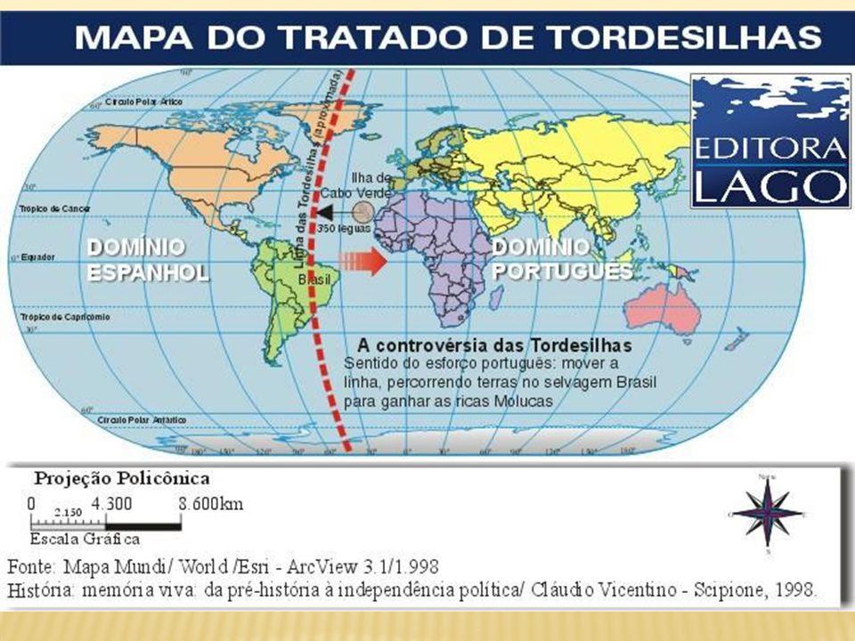 Deveriam pertencer à Espanha as terras e ilhas situadas ao norte de uma linha meridional imaginária, a 370 léguas a Oeste de Arquipélago de Cabo Verde.