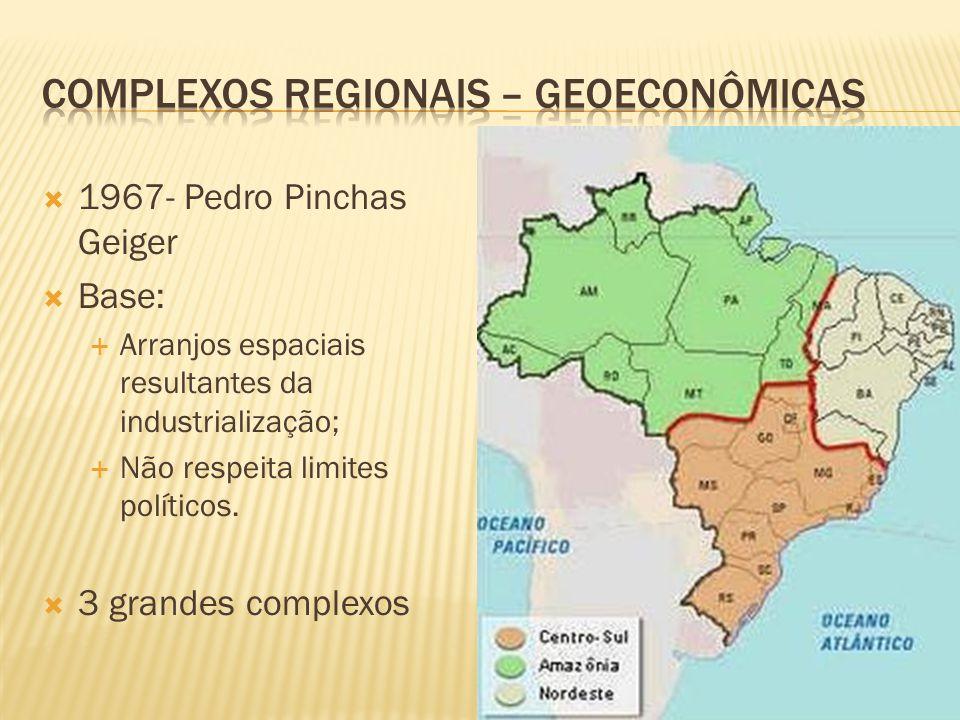 1967- Pedro Pinchas Geiger Base: Arranjos espaciais resultantes da industrialização; Não respeita limites políticos. 3 grandes complexos