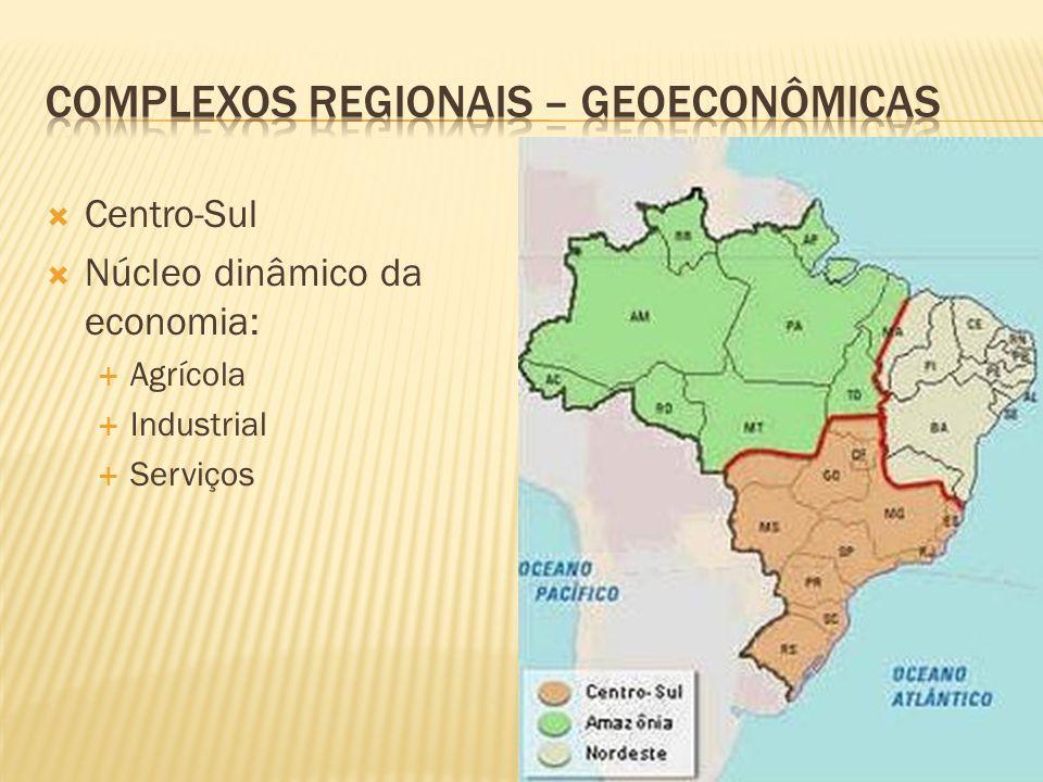 Centro-Sul Núcleo dinâmico da economia: Agrícola Industrial Serviços