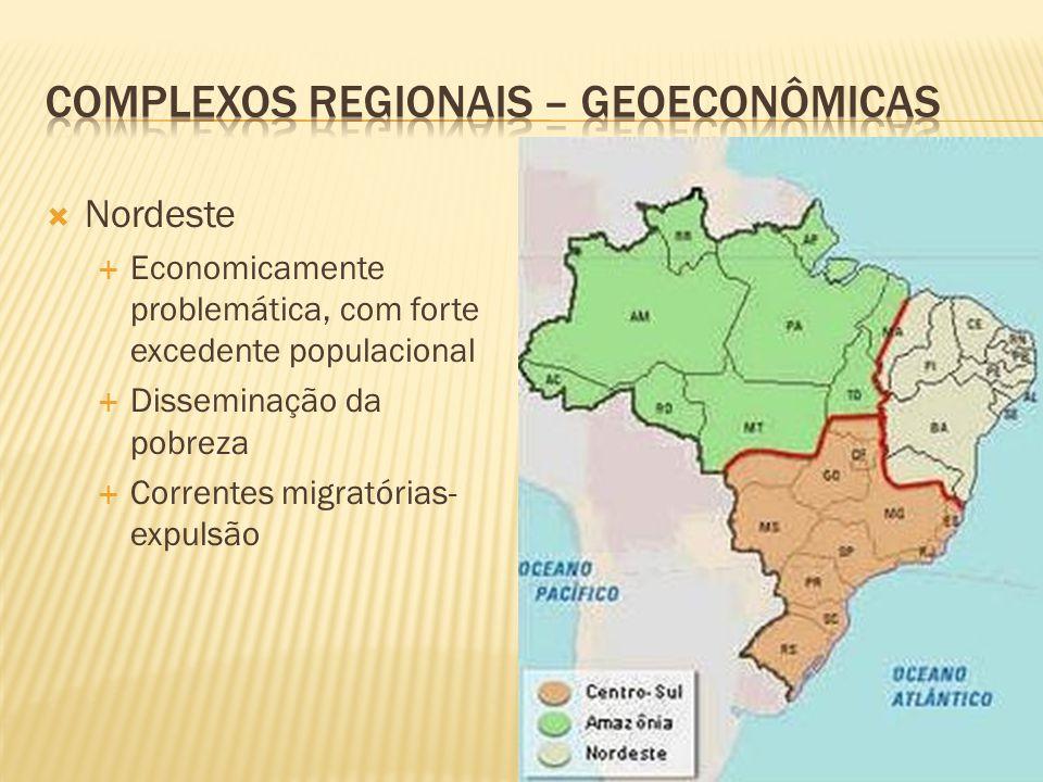 Nordeste Economicamente problemática, com forte excedente populacional Disseminação da pobreza Correntes migratórias- expulsão
