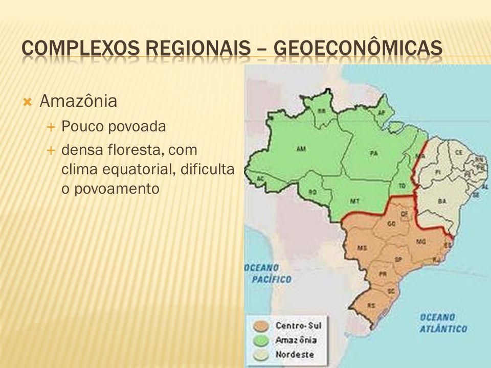 Amazônia Pouco povoada densa floresta, com clima equatorial, dificulta o povoamento