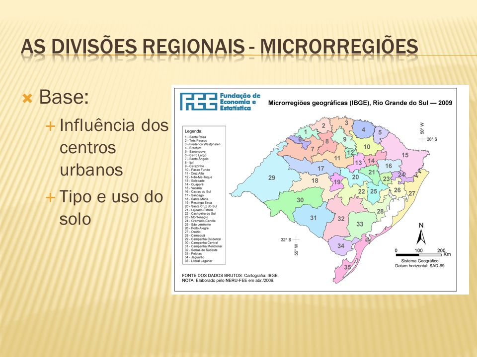 Base: Influência dos centros urbanos Tipo e uso do solo