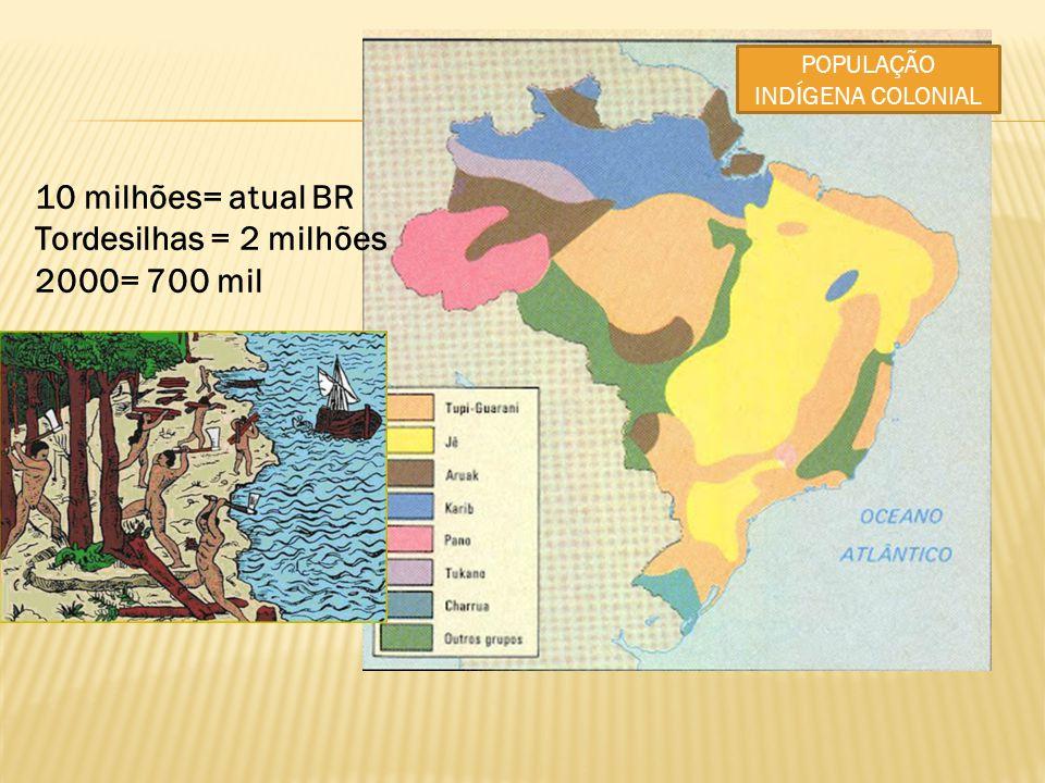 POPULAÇÃO INDÍGENA COLONIAL 10 milhões= atual BR Tordesilhas = 2 milhões 2000= 700 mil
