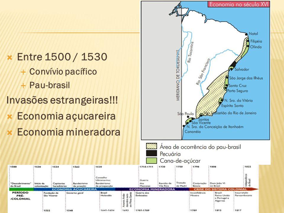 Entre 1500 / 1530 Convívio pacífico Pau-brasil Invasões estrangeiras!!! Economia açucareira Economia mineradora