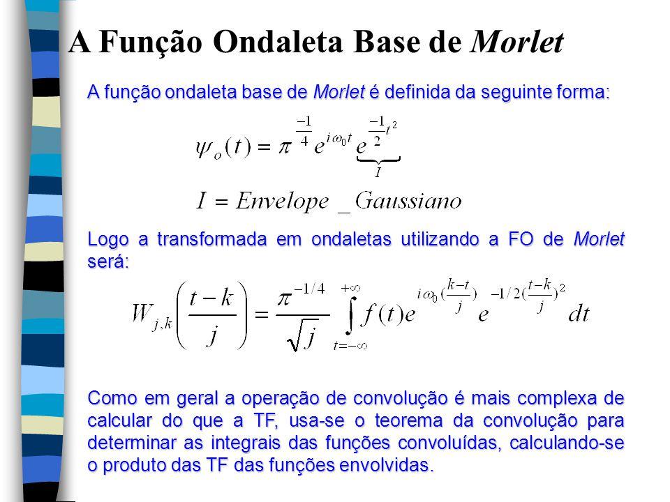 A Função Ondaleta Base de Morlet A função ondaleta base de Morlet é definida da seguinte forma: Logo a transformada em ondaletas utilizando a FO de Morlet será: Como em geral a operação de convolução é mais complexa de calcular do que a TF, usa-se o teorema da convolução para determinar as integrais das funções convoluídas, calculando-se o produto das TF das funções envolvidas.