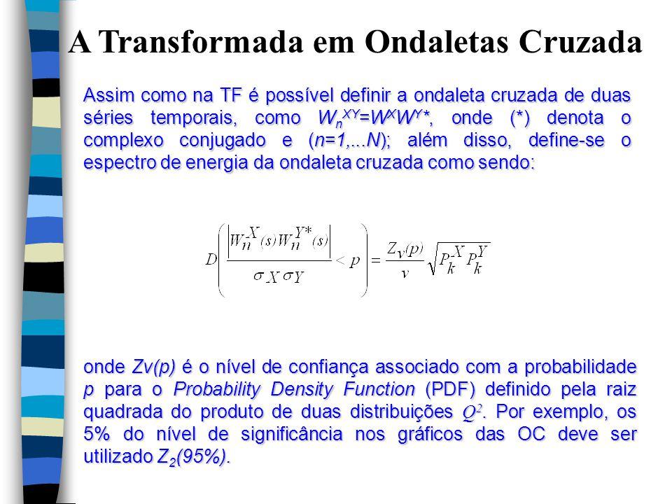 A Transformada em Ondaletas Cruzada Assim como na TF é possível definir a ondaleta cruzada de duas séries temporais, como W n XY =W X W Y *, onde (*) denota o complexo conjugado e (n=1,...N); além disso, define-se o espectro de energia da ondaleta cruzada como sendo: onde Zν(p) é o nível de confiança associado com a probabilidade p para o Probability Density Function (PDF) definido pela raiz quadrada do produto de duas distribuições Q 2.