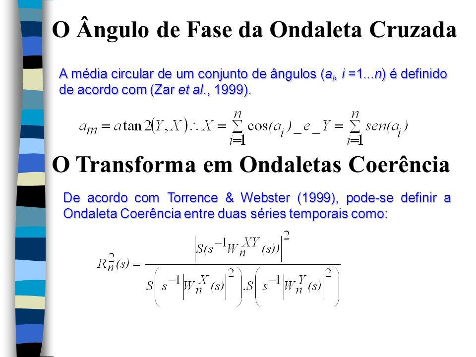 O Ângulo de Fase da Ondaleta Cruzada A média circular de um conjunto de ângulos (a i, i =1...n) é definido de acordo com (Zar et al., 1999).