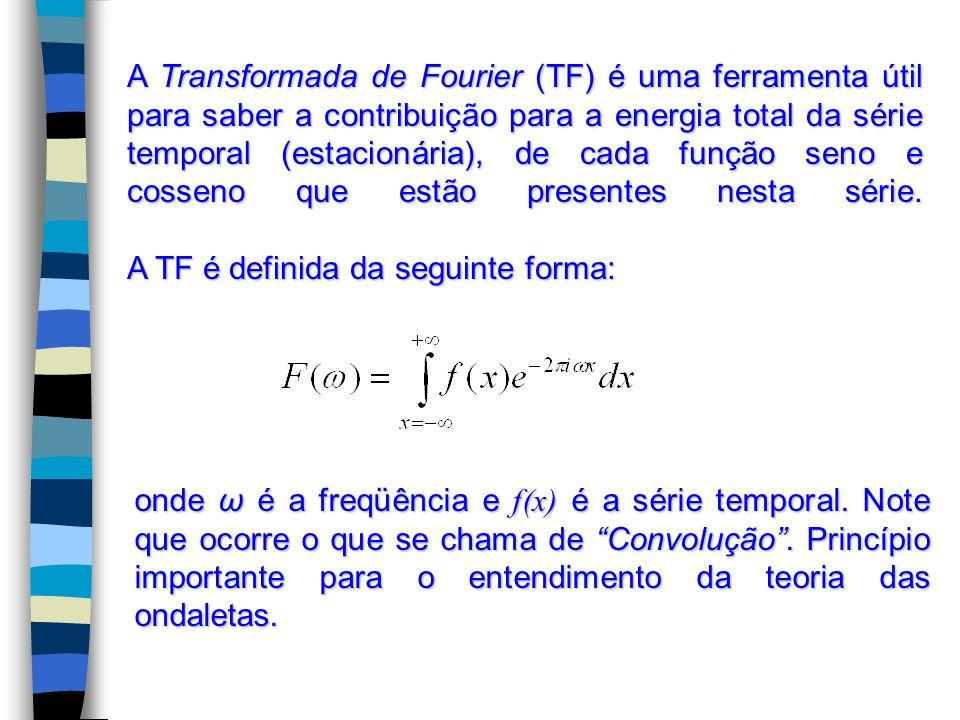 A Transformada de Fourier (TF) é uma ferramenta útil para saber a contribuição para a energia total da série temporal (estacionária), de cada função seno e cosseno que estão presentes nesta série.