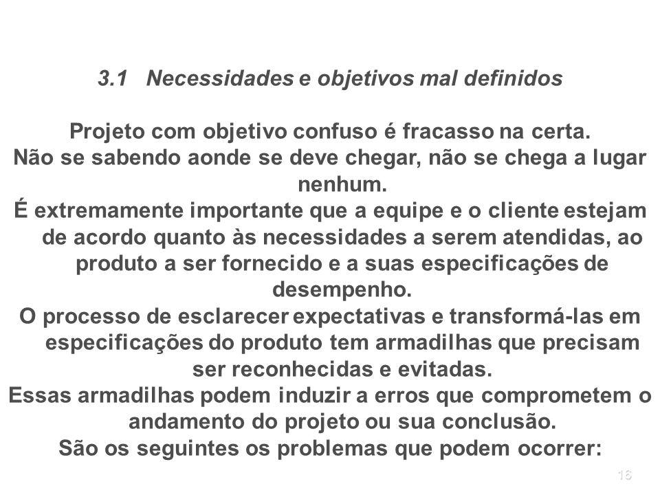 16 3.1 Necessidades e objetivos mal definidos Projeto com objetivo confuso é fracasso na certa. Não se sabendo aonde se deve chegar, não se chega a lu