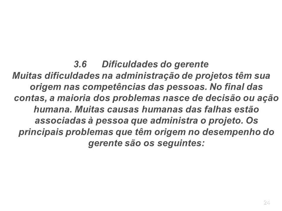 24 3.6Dificuldades do gerente Muitas dificuldades na administração de projetos têm sua origem nas competências das pessoas. No final das contas, a mai