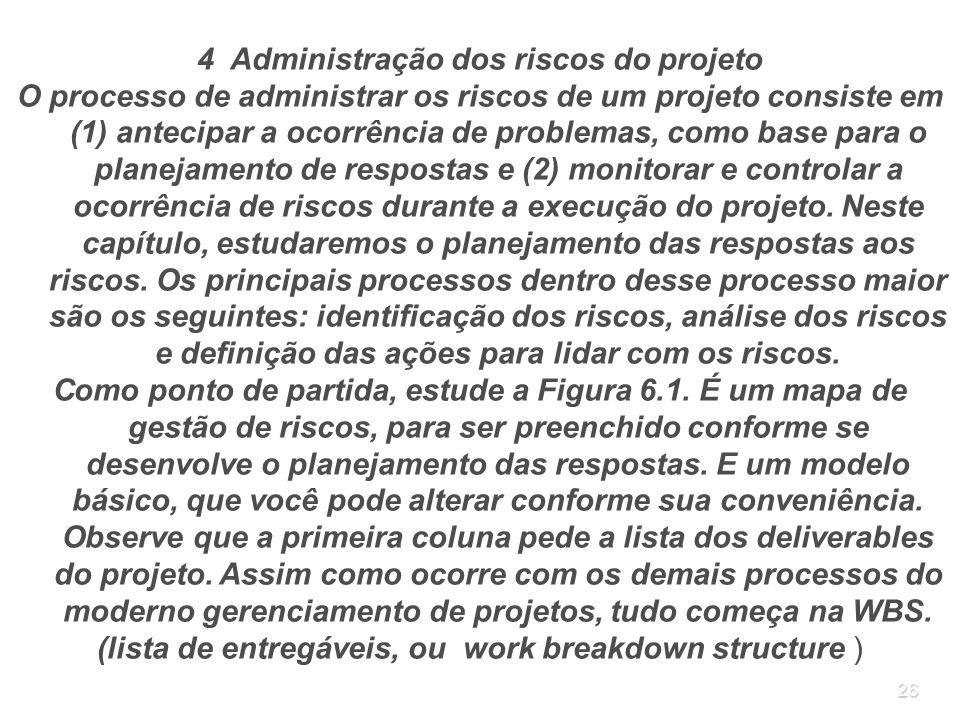 26 4 Administração dos riscos do projeto O processo de administrar os riscos de um projeto consiste em (1) antecipar a ocorrência de problemas, como b