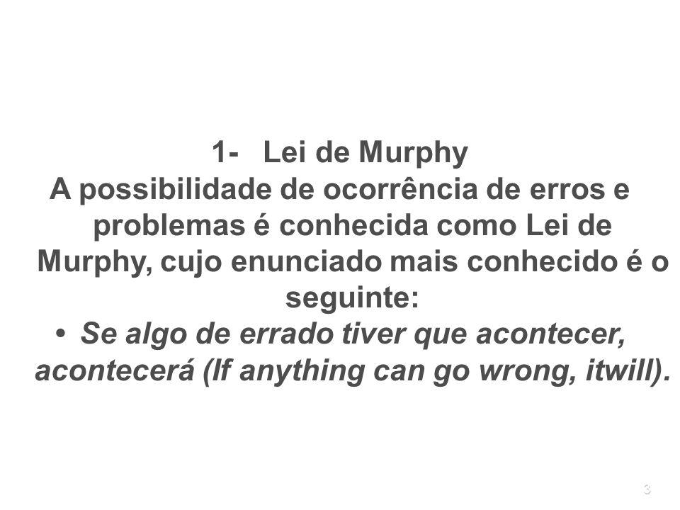 3 1- Lei de Murphy A possibilidade de ocorrência de erros e problemas é conhecida como Lei de Murphy, cujo enunciado mais conhecido é o seguinte: Se a
