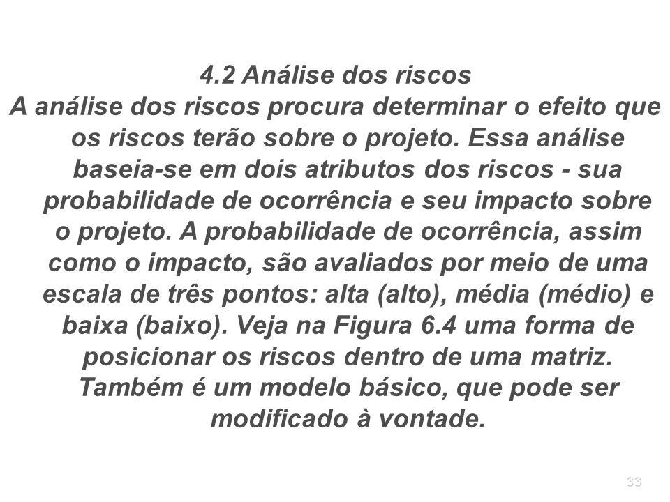 33 4.2 Análise dos riscos A análise dos riscos procura determinar o efeito que os riscos terão sobre o projeto. Essa análise baseia-se em dois atribut