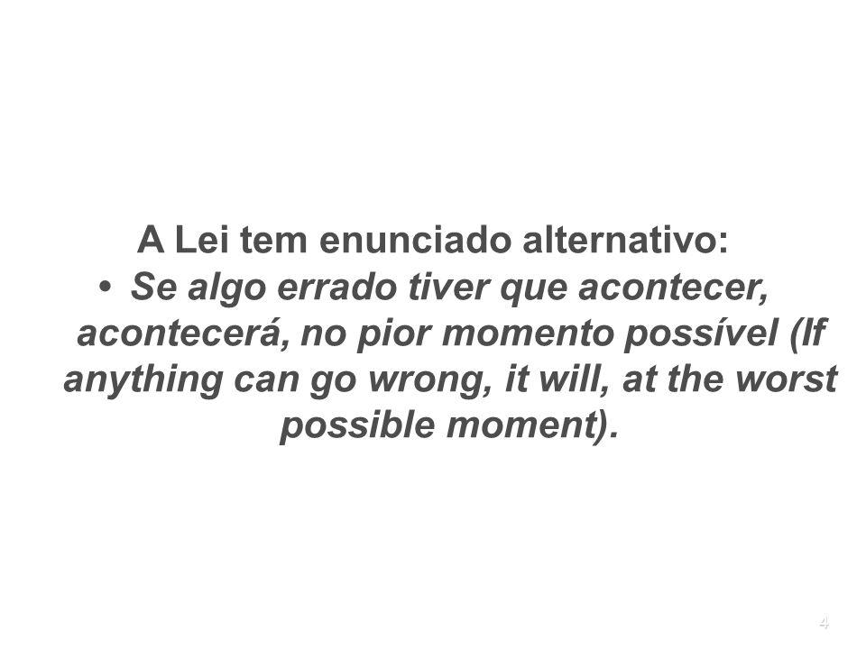4 A Lei tem enunciado alternativo: Se algo errado tiver que acontecer, acontecerá, no pior momento possível (If anything can go wrong, it will, at the