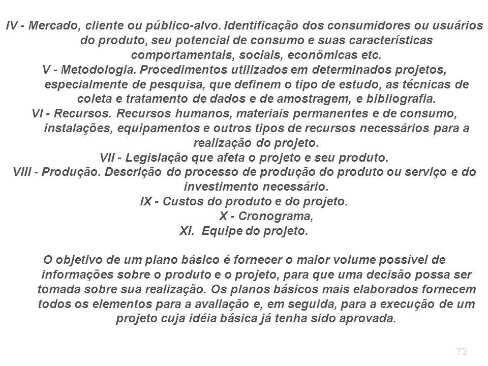 72 IV - Mercado, cliente ou público-alvo. Identificação dos consumidores ou usuários do produto, seu potencial de consumo e suas características compo