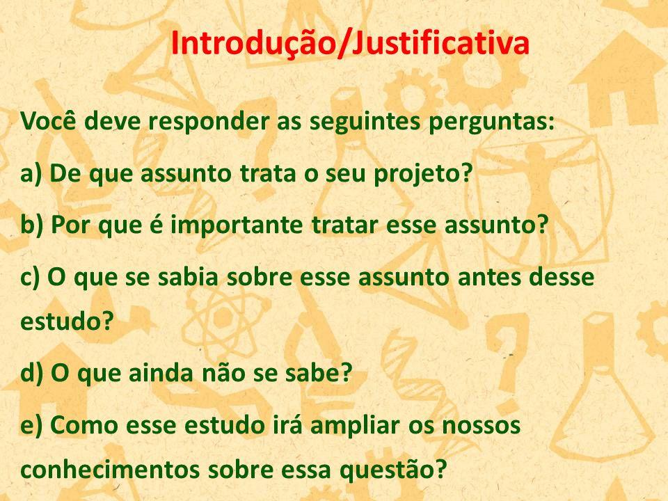 Você̂ deve responder as seguintes perguntas: a) De que assunto trata o seu projeto? b) Por que é importante tratar esse assunto? c) O que se sabia so