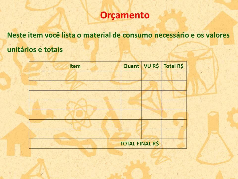 Orçamento ItemQuantVU R$Total R$ TOTAL FINAL R$ Neste item você lista o material de consumo necessário e os valores unitários e totais