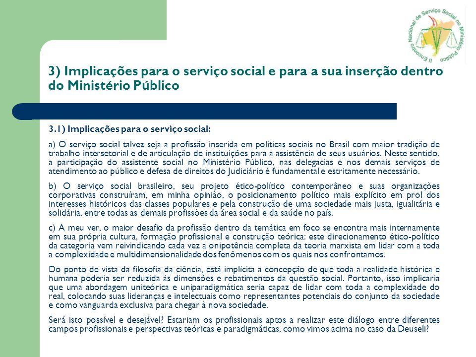 3) Implicações para o serviço social e para a sua inserção dentro do Ministério Público 3.1) Implicações para o serviço social: a) O serviço social ta