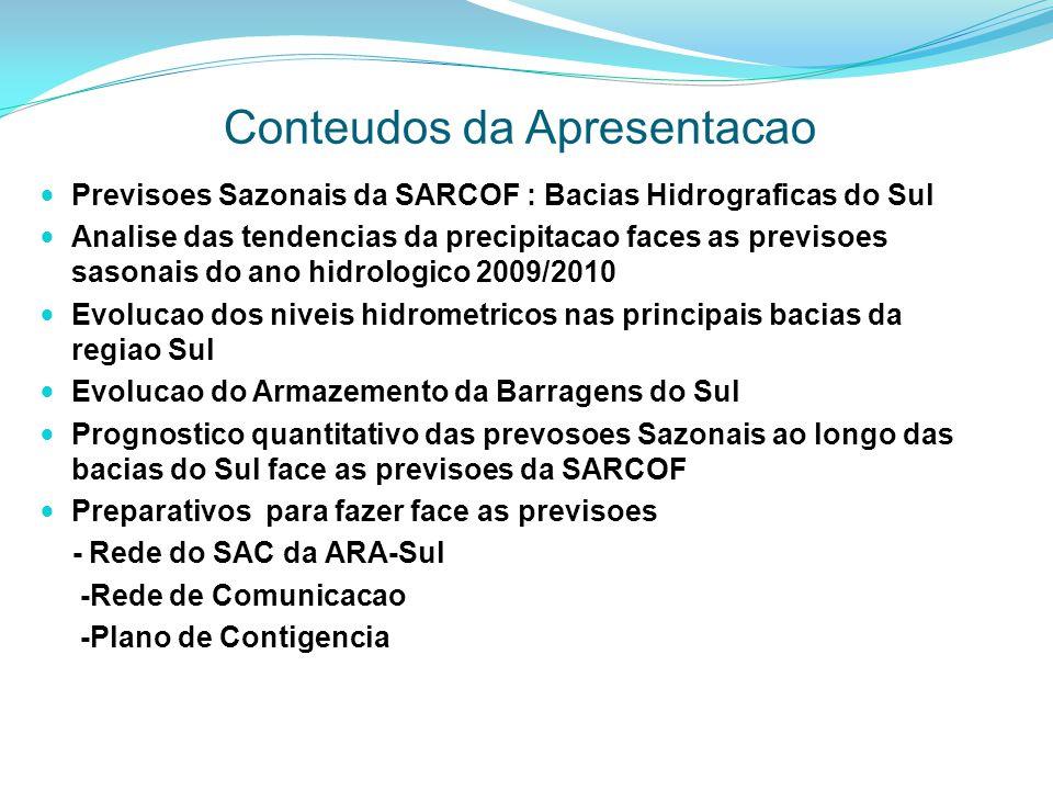 Conteudos da Apresentacao Previsoes Sazonais da SARCOF : Bacias Hidrograficas do Sul Analise das tendencias da precipitacao faces as previsoes sasonai