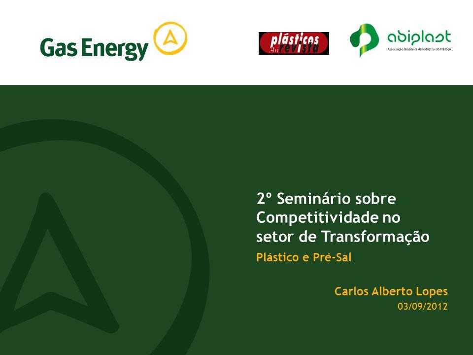 2º Seminário sobre Competitividade no setor de Transformação Plástico e Pré-Sal Carlos Alberto Lopes 03/09/2012