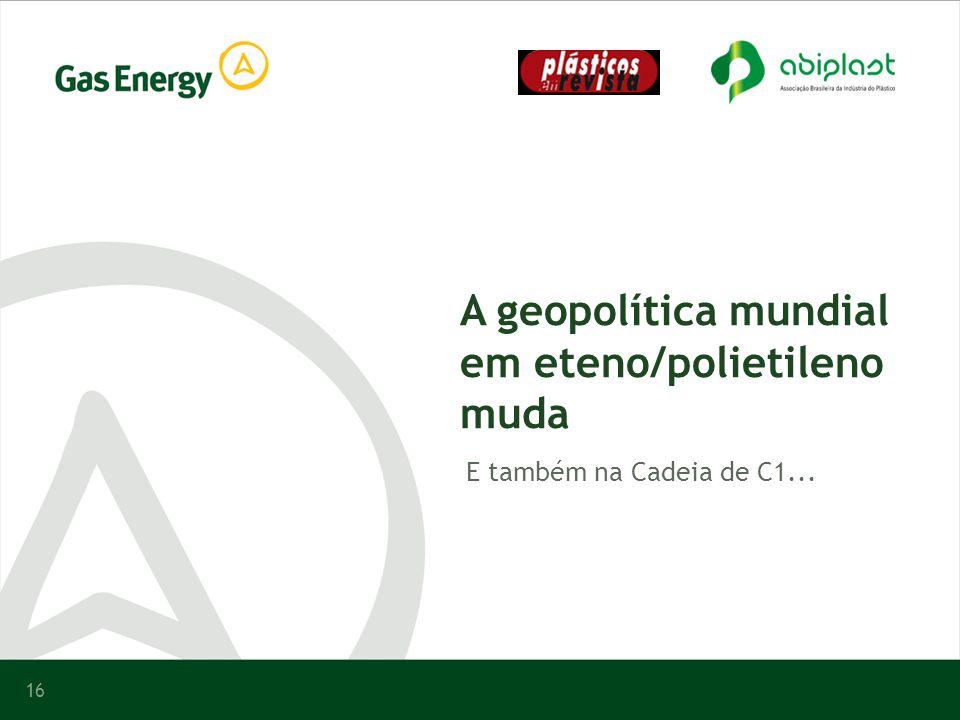 16 A geopolítica mundial em eteno/polietileno muda E também na Cadeia de C1...