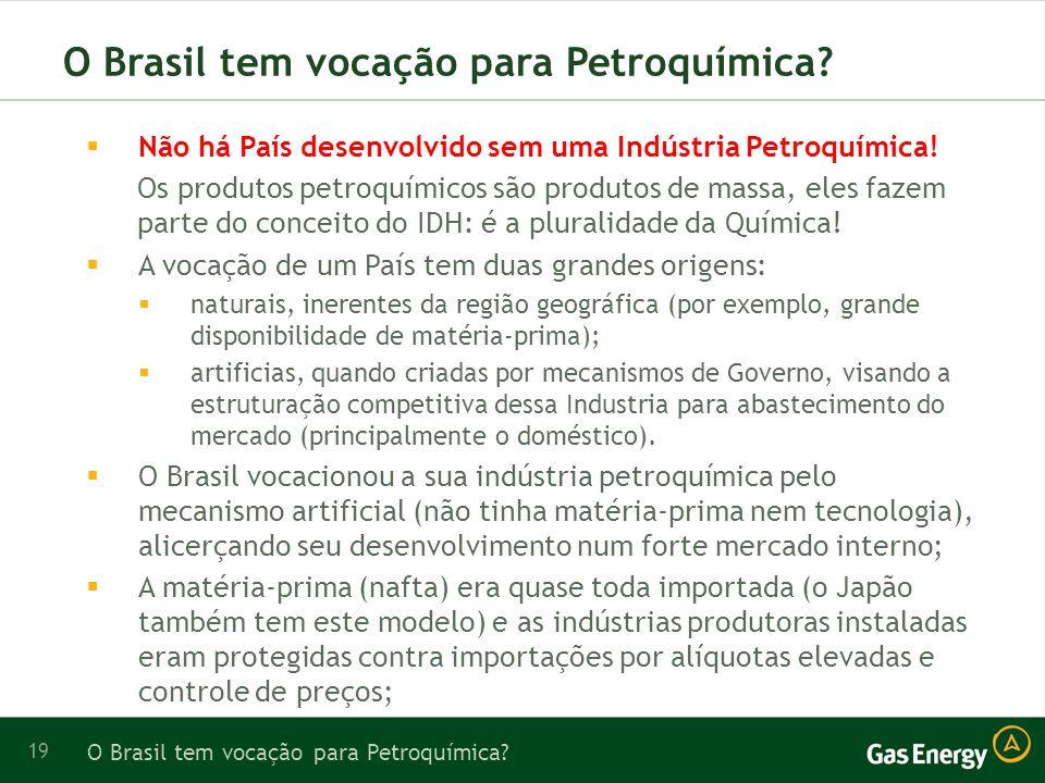 19 O Brasil tem vocação para Petroquímica.Não há País desenvolvido sem uma Indústria Petroquímica.