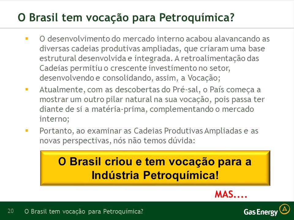20 O Brasil tem vocação para Petroquímica.