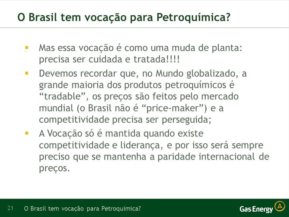 21 O Brasil tem vocação para Petroquímica.
